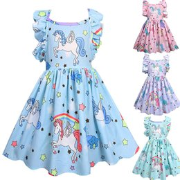 Ins 4 Colors Baby Girls Cartoon Unicorn Printed Dress Kids Cute Open Back Party Dress Halloween cosplay Clothing Children boutique clothes