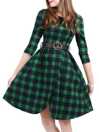 New Plaid Print Plus Size Big Swing Dress With The Belt Women Fashion Long Sleeve High Quality Vintage Dress