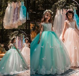 Newest Mint Green Girls Pageant Dresses Ball Gown Flower Girls Gowns Applique Butterflies Kids Birthday Communion Dresses For Formal Wedding