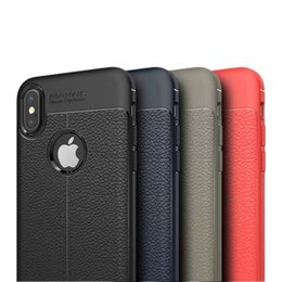 Rugged Armor TPU Case for IPHONE XR XS XS MAX X 5S 6 7 8 PLUS Galax S8 S9 S9 Plus Anti Shock Absorption Leather Litchi pattern 800PCS