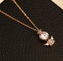 Cubic Zirconia Angel Necklace & Pendant Fashion Rose Gold Plated Chain Choker Necklace Jewelry for Women Fashion Korean Accessories