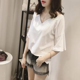 2018 summer new Korean girl solid color V-neck large size girls loose short-sleeved T-shirt girls shirt