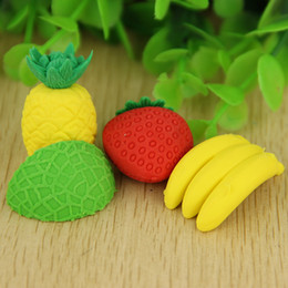 Wholesale! Cute Fruit Cuisine Shape Rubber Eraser Student Learning Stationery for Child Creative Gift free shipping high quality 2018 new