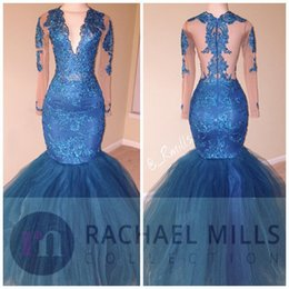 2K17 Royal Blue African Prom Dresses Mermaid Long Sleeves Backless Evening Gowns V-neck Beading Lace Prom Dress