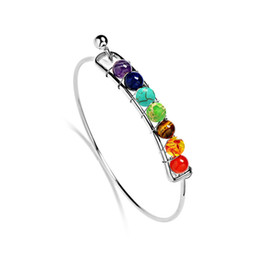 Boho Charm Silver Bangles Natural Stones Beads Bracelet 7 Chakra Healing Balance Bracelets & Bangles Jewelry For Women Gifts