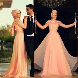 Muslim Caftan A Line Evening Dresses High Collar Long Sleeve Pink Hijab Underscarf Dubai Morocan Kaftan Prom Party Gowns Custom