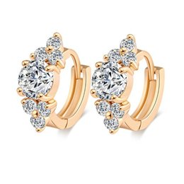 Cubic Zirconia Hoop Earrings Vintage 18K Gold Plated Fashion Jewelry European Women Elegant Earrings for Party Wedding