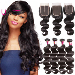 UNice Hair Peruvian Virgin Hair Body Wave 4 Bundles With Closure Wholesale 100% Human Hair Extensions Weave Bundles With Lace Closure Cheap