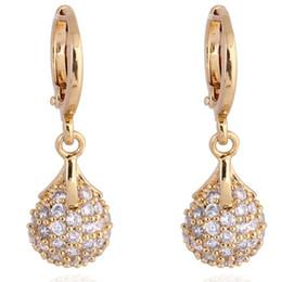 Fashion CZ Crystal Ball Dangle Earrings Vintage Women 18K Gold Plated Hoop Earrings Indian Jewelry boucle d'oreille