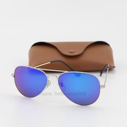 5pcs hot sale high quality classic women txrppr sunglasses designer fashion glasses men UV400 protection silver frame blue mirror lens 58mm