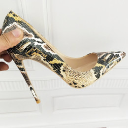 Snake Printed Sexy stilettos high heels Ladies Shoes 2019 Pointed Toe Party Prom Women Pumps size 11 13 42