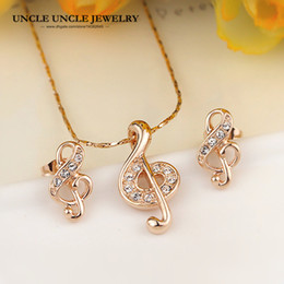 Office Lady Favorite Rose Gold Color Rhinestone Musical Note Element Jewelry Set Earrings Necklace Wholesale