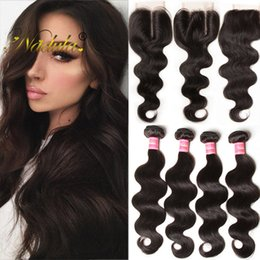 NadulaMalaysian Hair Bundles With Closure Body Wave Virgin Hair Extensions With Closure Remy Human Hair Weave Bundles With Closure Wholesal