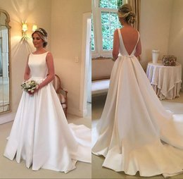 2019 Wedding Dresses Cheap Boat Jewel Neck Ruched Draped Sleeveless V Back Satin Sweep Train Plus Size Custom Bridal Gowns