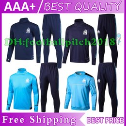 AAA+2017 2018 Maillot de foot Marseille training suits 17 18 home blue black Survetement tracksuits Uniforms shirts long sleeve tights pants