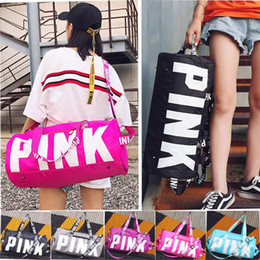 Pink Letter Handbags Travel Bags Beach Bag Duffle Striped Shoulder Bags Large Capacity Waterproof Fitness Yoga Bags Fast Shipping