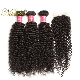Nadula Brazilian Curly Hair 3-4Bundles With 1Free Lace Closure Human Hair Wefts With Lace Closure Human Virgin Hair Weave 50Pcs Wholesale
