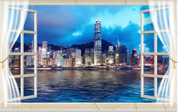 Custom Photo Wallpaper 3D Stereo Windows Hong Kong city night view 3D TV background wall Art Mural for Living Room Large Painting Home Decor