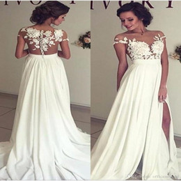 Sexy Beach Chiffon Wedding Dresses Sheer Neck Lace Appliques Cap Sleeves Thigh High Slits Bridal Gowns Custom Made