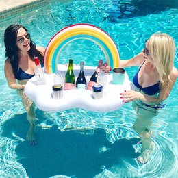 Swimming Inflatable Pool Float Ice Bucket Rainbow Cloud Cup Holder Cooler Beer Drink Table Bar Tray Zwembad Party Toys Beach Accessories