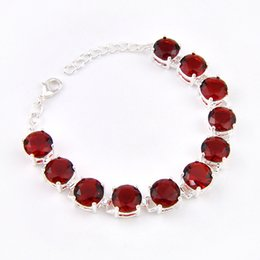 Free shipping - Vintage Round Shaped Red Garnet meaningful Fashion girl Silver Chain Bracelet Jewelry B0909