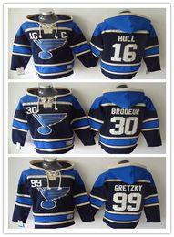 St. Louis Blues Hockey Men Jerseys 16 Brett Hull 42 David Backes 30 Martin Brodeur Tarasenko Hockey Hoodie Hooded Sweatshirt Jackets Jersey