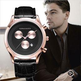 2018 Relojes para hombre Top Marca de lujo Reloj de cuarzo Reloj de pulsera deportivo de cuero casual Reloj Montre Homme Hombre