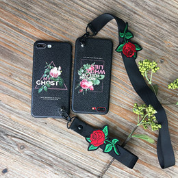 soft Baby Flower Pattern Phone Case Lanyard Case Cover for iphone X Shockproof TPU Case Leather Feel Textile flower OEM is accepted