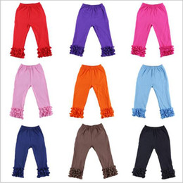 Wholesale Price Baby Girl Icing Leggings Flower Printed Ruffle Pants For Children Boutique Clothing