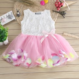 Baby Girls Floral Dresses Kids Party Dress Chiffon Sleeveless Baby Girl Tutu Skirt Fashion 2018 Summer Petal Lace Kids Dress 020
