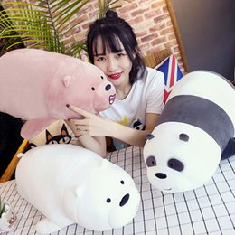 3 size new cartoon naked lying down bear three cubs cute soft toy creative gifts,baby suede fabric easy to handle