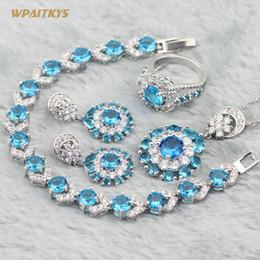 Light Blue Wedding Jewelry Sets - Wholesale AAA Zircon Flower Silver Plated Pendant Drop Earrings Ring Bracelet For Women Rings Size 6-10