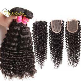 Nadula Buy 3-4Bundles Get 1 Free Closure Peruvian Curly Human Hair Bundles With Closure 4*4 Lace Closure Free Three Middle Part Virgin Hair