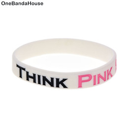 Wholesale 100PCS Lot Think Pink Bracelet Breast Cancer Awareness Silicone Wristband A Great Way To Show Your Support