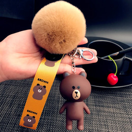 Animal Bear Keychain Cute Cartoon Doll Key Chain rabbit Bear Doll Lovers Key Ring Bag Pendant Jewelry Gift
