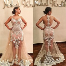 Attractive Back Evening Gowns 2018 See Through Overskirts Lace Dresses To Wear To A Event Sheer Skirt Plus Size Prom Dresses Vestidos