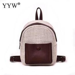 Hemp Small Backpack Women Hit Color Black Bag Stylish Back Pack Backpacks  For Teenagers Girls School Bags Sac A Main Mochila a1e2f69098b7d