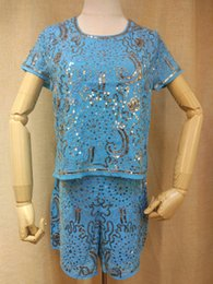 Short sleeve a set of Stitchwork Shiny sequin craft dress