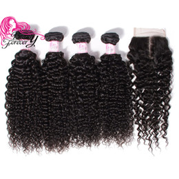 Beauty Forever Malaysian Virgin Hair Curly 4 Bundles with Lace Closure 4*4 100% Human Curly Hair Weave Closure With Bundles Wholesale
