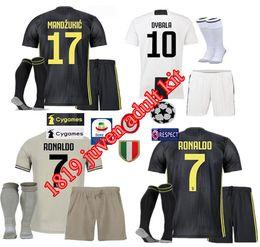 2018 Juventus RONALDO Soccer jersey DYBALA HIGUAIN Men Kit Home Away Third 18 19 MANDZUKIC Adult Football Shirt uniform Full Set With Socks