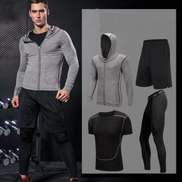 men New YOGA GYM Suit Female Skinny Thin Slim Leisure Clothes Fitness Exercise Running Four Piece Sets Sport Jogging Wear Tracksuit