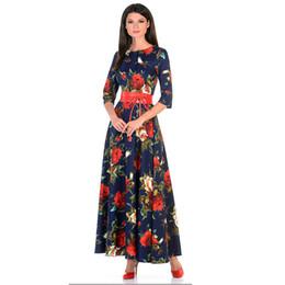 Femmes impression robe Automne mode Rose impression longue vestidos Bonne  qualité Femmes Russe style occasionnelle robe automne