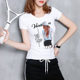 Europe and the United States women's wholesale new summer fashion slim was thin t-shirt women's short sleeve cartoon hot drilling shirt cott
