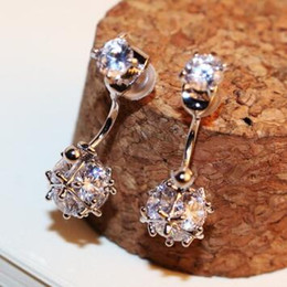 Platinum   rose Gold Plated Dangle Earrings for Women Fashion Zircon Ball Dangle Earrings Jewelry Vintage Accessories