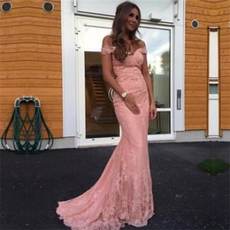Off The Shoulder Evening Dresses Mermaid 2019 Lace pink Prom Dress long sweep train Formal Women Celebrity Party Gowns