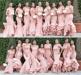 Pink Mermaid Bridesmaid Dresses 2019 Newest Off Shoulder African Arabic Ruffles Plus Size Wedding Guest Evening Prom Party Gowns Custom Made