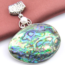 New Luckyshine 2 Pcs Lot 925 Sterling Silver Natural Pearl Abalone Shell Gemstone handmade Fashion Necklace Pendant Jewelry p0965