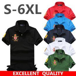 2018Brand New Men\'s Shirt High Quality Men Big Horse Embroidery Cotton Short Sleeve Shirt Sportspolo Jerseys Golftennis Plus Size S - 5XL