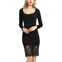 BOFUTE New Europe America Spring Summer Women's Dresses O-Neck Long Sleeve Hem Splice Lace Dress 15019
