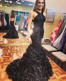 2018 New Stunning Black Long Prom Dresses Beaded Appliqued Cascading Ruffled Mermaid Court Train Backless Formal Party Evening Gowns